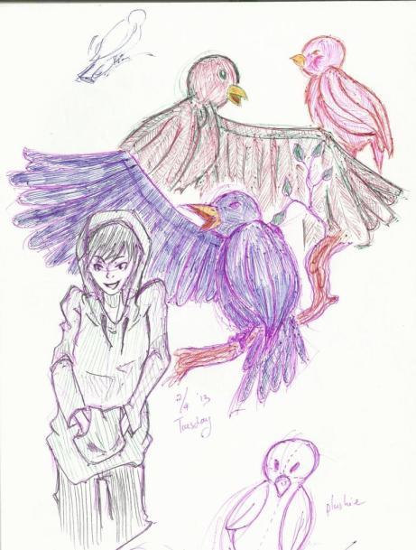 Multicolored birds.